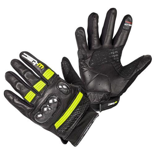 W-TEC Moto rukavice Rushin - barva Black-Fluo Yellow, velikost S