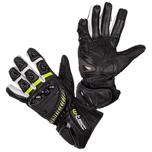 W-TEC Moto rukavice Evolation - barva černo-bílo-fluo, velikost L