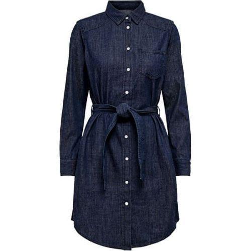 Jacqueline de Yong Dámské šaty JDYESRA LIFE 15159310 Dark Blue Denim (Velikost 34)