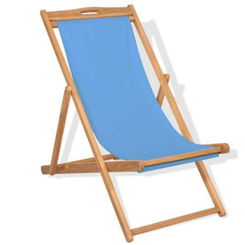 shumee Kempingová židle teakové dřevo 56 x 105 x 96 cm modrá