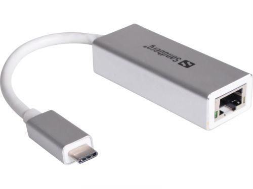 Sandberg USB-C konvertor pro síťové připojení 136-04, stříbrný