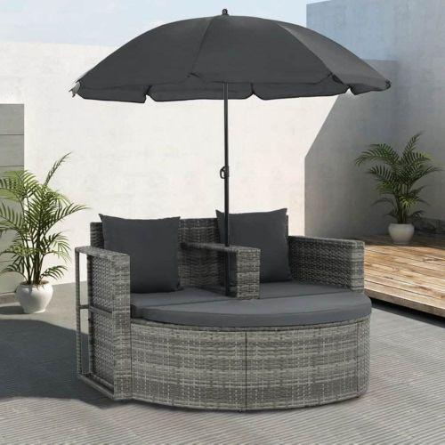 shumee 2místná zahradní pohovka s poduškami a slunečník šedá polyratan