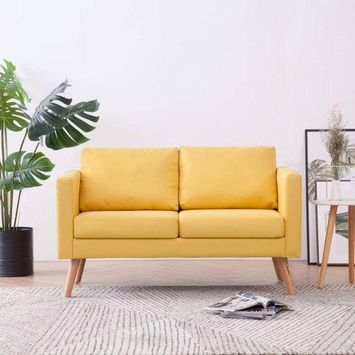 shumee 2místná pohovka textilní čalounění žlutá