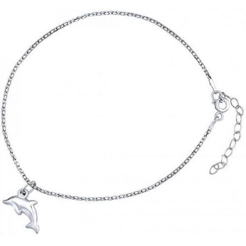 Silvego Stříbrný řetízek na nohu s delfínem ZT151095VSW stříbro 925/1000