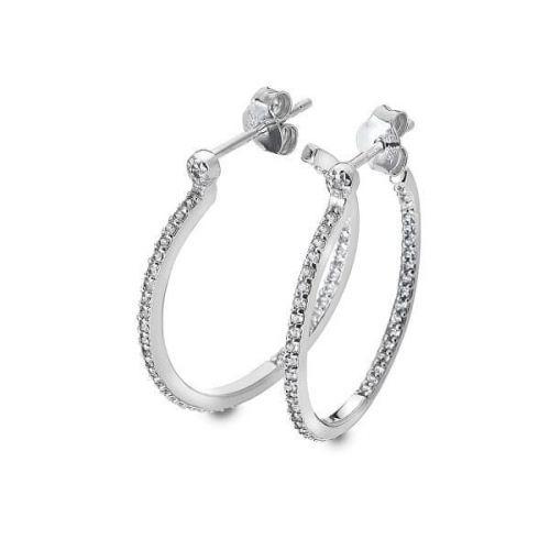 Hot Diamonds Stříbrné kruhové náušnice s diamanty Hoops Topaz DE623