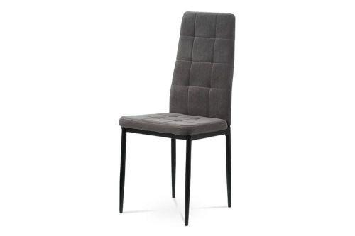 Autronic Jídelní židle, šedá sametová látka, kovová čtyřnohá podnož, černý matný lak DCL-395 GREY4