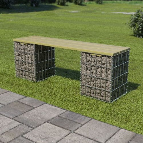 shumee Gabionová lavice 120 cm pozinkovaná ocel a borovice