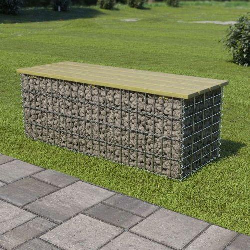 shumee Gabionová lavice 120 cm pozinkovaná ocel a borové dřevo