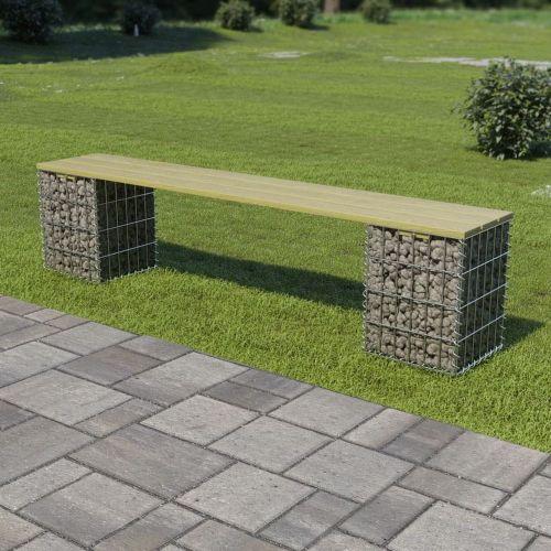 shumee Gabionová lavice 180 cm pozinkovaná ocel a borové dřevo