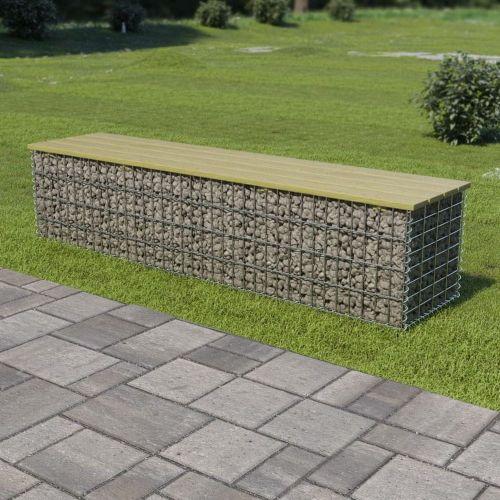 shumee Gabionová lavice 170 cm pozinkovaná ocel a borové dřevo