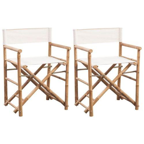 shumee Skládací režisérské křeslo 2 ks bambus a plátno
