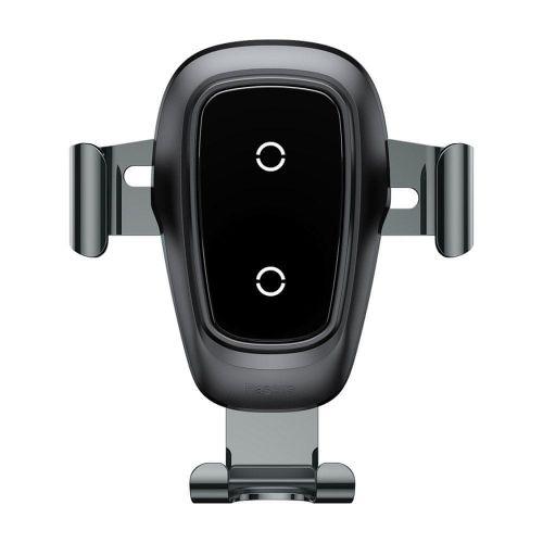 BASEUS Metal Gravity držák na mobil do auta, Qi bezdrátová nabíječka černý
