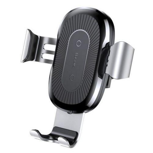 BASEUS Wireless Charger Gravity držák na mobil do auta, Qi bezdrátová nabíječka, stříbrný