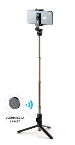 CellularLine Selfie stick s tripodem Snap Lite a bezdrátovou spouští, černý FIXSS-SNL-BK