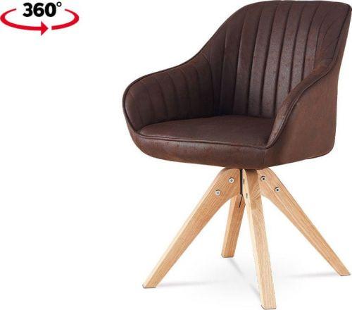 ART Jídelní židle, hnědá látka v dekoru broušené kůže, nohy masiv kaučukovník HC-772 BR3 Art