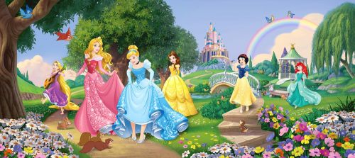 AG design Fototapeta Princezny Disney v parku 202 x 90 cm