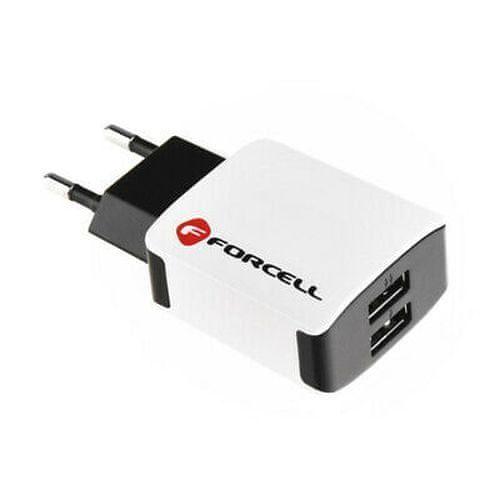FORCELL Travel nabíječka 2x USB, 2A, bíla/černá