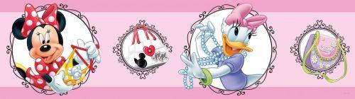 AG design Samolepící bordura Myška Minnie a Daisy s medailony na růžovém pozadí 5 m x 14 cm