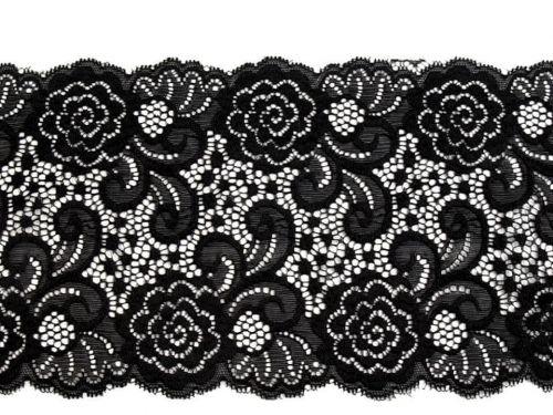 Kraftika 13.5m 2 black elastická krajka / vsadka / běhoun šíře 15