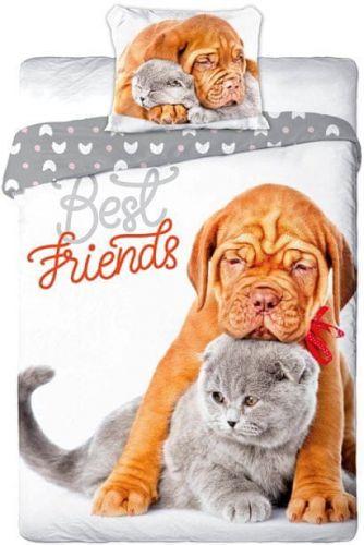 Faro Povlečení Best Friends Štěňátko a koťátko bavlna 140x200 70x90