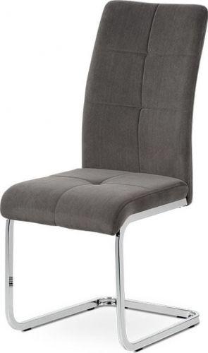 ART Jídelní židle, šedá sametová látka, kovová pohupová chromovaná podnož DCL-440 GREY4 Art