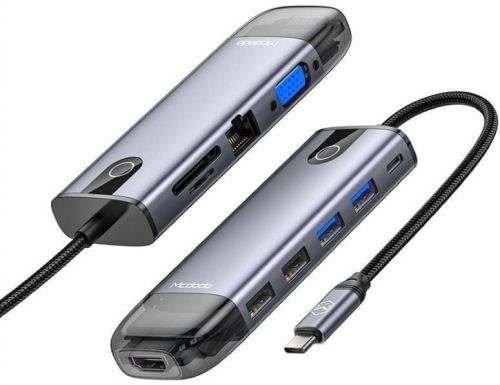 Mcdodo 10 v 1 Hub (HDMI; 2×USB-A 2.0; 2× USB-A 3.0; VGA USB-C(PD 100W); Gigabit LAN; SD/TF Card Slot) Šedý HU-7420