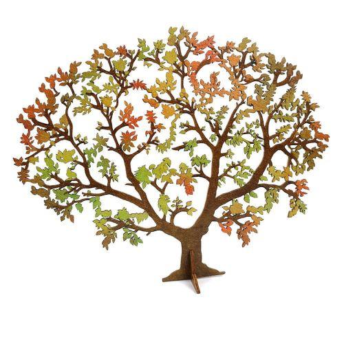 AMADEA Dřevěný 3D strom v podzimních barvách , šířka 24 cm, tl. 3mm