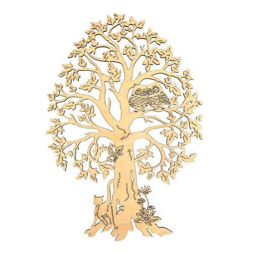 AMADEA Dřevěný strom se sovami, přírodní závěsná dekorace, výška 28 cm