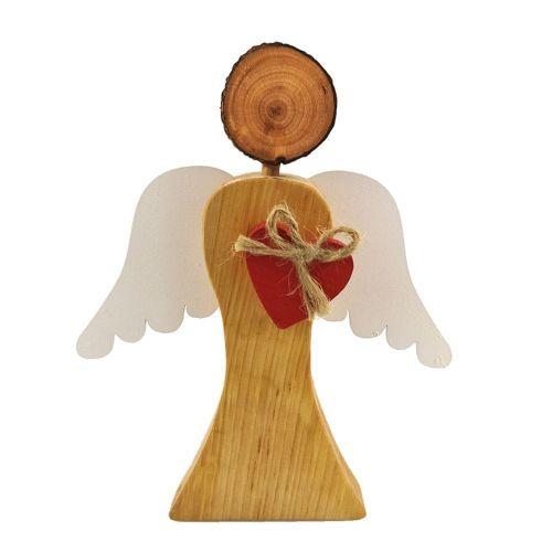 AMADEA Dřevěný anděl s bílými křídly a červeným srdcem, masivní dřevo, 17x14,5x2 cm