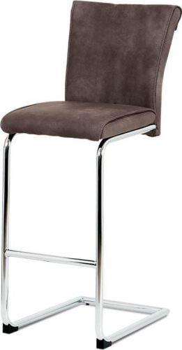 ART Barová židle, hnědá ekokůže v dekoru broušené kůže, chromovaná pohupová podnož BAC-192 BR Art