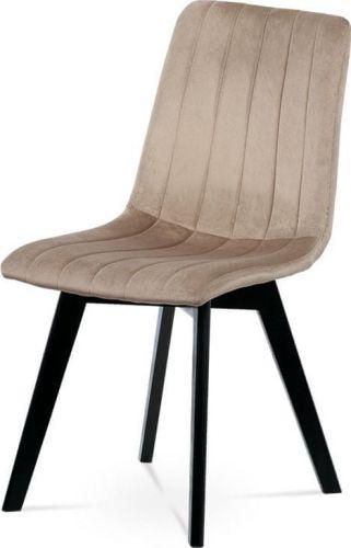 ART Jídelní židle, krémová sametová látka, masivní bukové nohy, černý matný lak CT-617 CRM4 Art