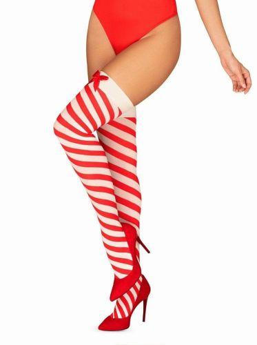 Obsessive Vánoční punčochy Kissmas stockings - Obsessive červená S/M