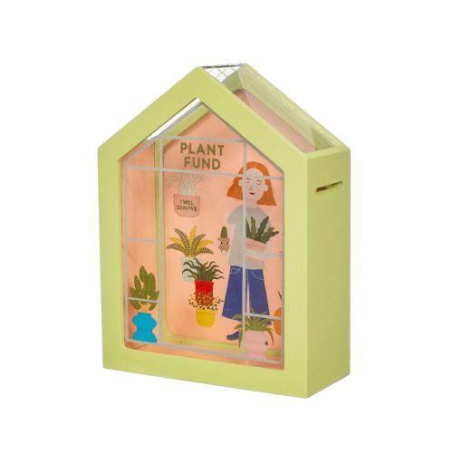 Sass & Belle Zelená dřevěná pokladnička se zahradním motivem a nápisem Plant Fund