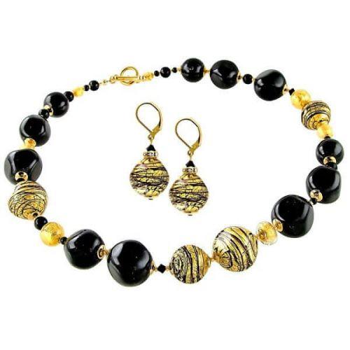 Lampglas Luxusní souprava šperků Golden Tiger z perel Lampglas s 24karátovým zlatem CQ5 (náhrdelník, náušnice