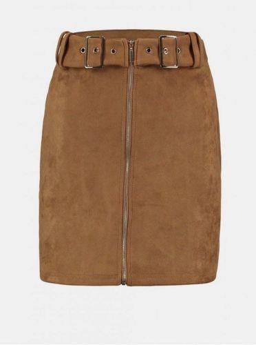 Haily´s hnědá sukně v semišové úpravě XL
