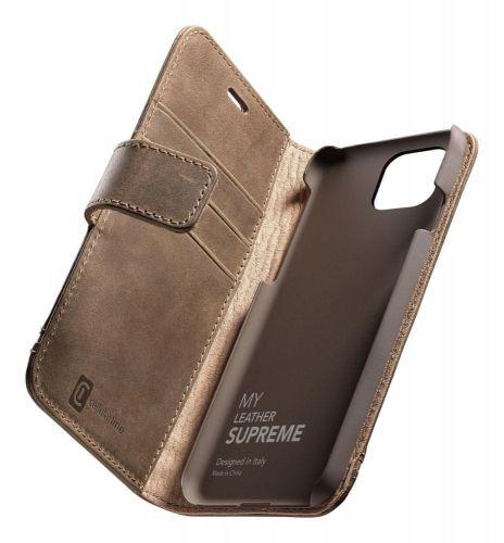 CellularLine Prémiové kožené pouzdro typu kniha Supreme pro Apple iPhone 12/12 Pro SUPREMECIPH12MAXN, hnědé