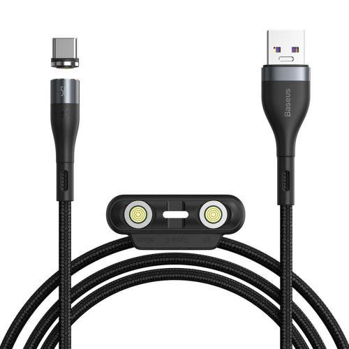 BASEUS Zinc magnetický kabel USB - Lightning / USB-C / Micro USB QC 5A 1m, černý/šedý