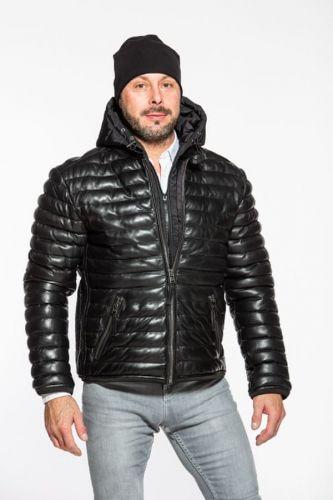 Deercraft Pánská černá prošívaná kožená bunda TREVER 3