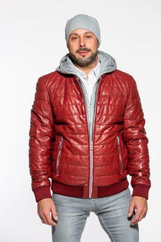 Gipsy Červená prošívaná kožená bunda GBSANTON