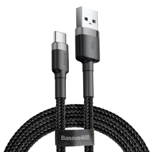 BASEUS Cafule kabel USB / USB C QC 3.0 3A 1m, černý/šedý