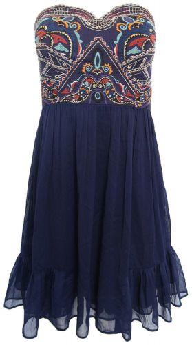 Morgan Korzetové šaty s vyšíváním Morgan Modrá 42