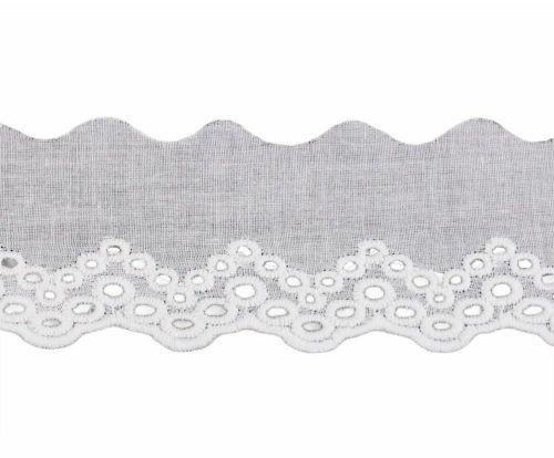 Kraftika 13.5m bílá bavlněná madeira - štykování šíře 50mm