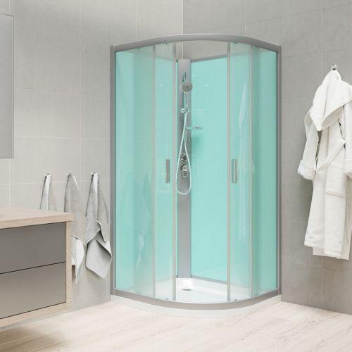 MEREO Sprchový box, čtvrtkruh, 90 cm, satin ALU, sklo Point, zadní stěny zelené, litá vanička, bez stříšky CK35122M