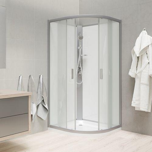 MEREO Sprchový box, čtvrtkruh, 90 cm, satin ALU, sklo Point, zadní stěny bílé, litá vanička, bez stříšky CK35122MW