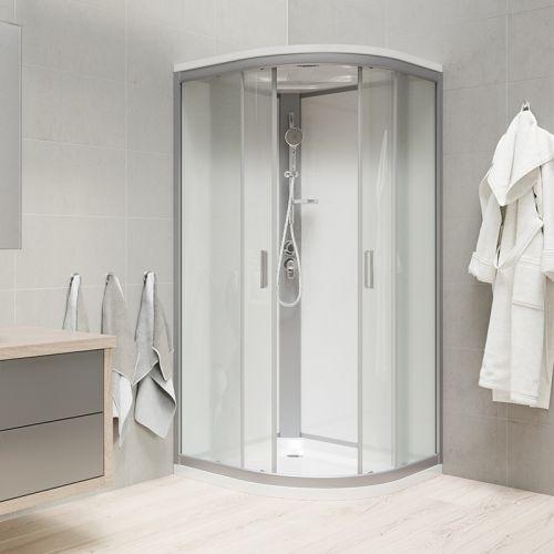 MEREO Sprchový box, čtvrtkruh, 90 cm, satin ALU, sklo Point, zadní stěny bílé, litá vanička, se stříškou CK35122MSW