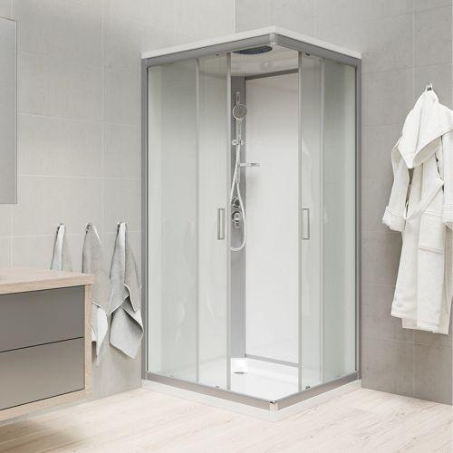 MEREO Sprchový box, čtvercový, 90 cm, satin ALU, sklo Point, zadní stěny bílé, litá vanička, se stříškou CK34122MSW