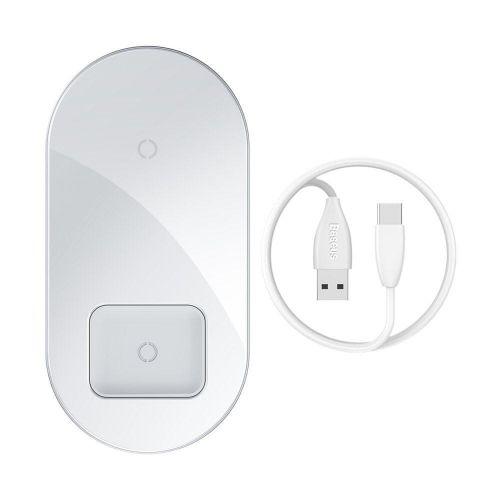 BASEUS Simple 2in1 Wireless Qi Charger bezdrátová nabíječka, biela