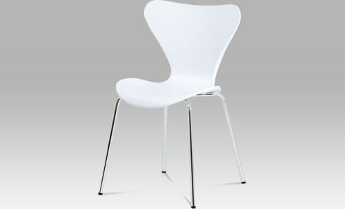ART Jídelní židle, bílý plast s imitací dřeva / chrom AURORA WT Art