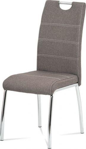 ART Jídelní židle, hnědá látka, bílé prošití, kov chrom HC-486 COF2 Art