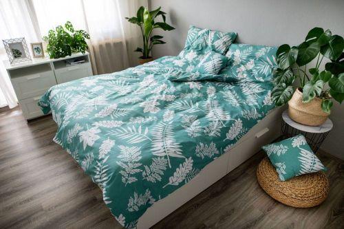Jahu Ložní povlečení 3dílné Palma green 140x200 + 70x90 + povláček 40x40 cm